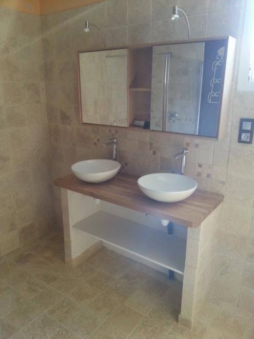 Réalisation meuble vasque avec pose des elements